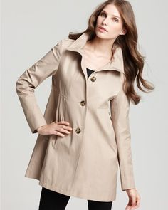 "Color example of ""beige khaki"": DKNY Melanie hooded babydoll coat in beige (khaki) via Lyst"
