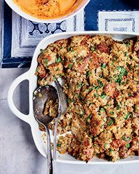 Multigrain Bread Stuffing with Sausage and Herbs Recipe on Food & Wine