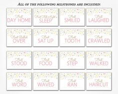 Baby Milestone Cards PRINTABLE DIY Instant by CharmingPrintables
