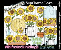Sunflower Love Clip Art - Commercial Use, Digital Image, Png, Clipart - Instant Download - Mason Jar, Sunflower Garden, Spring, Summer, Prim by ResellerClipArt on Etsy