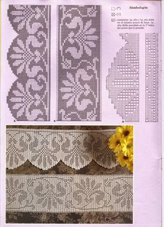 "Photo from album ""кайма on Yandex. Filet Crochet, Crochet Borders, Crochet Stitches, Crochet Patterns, Crochet Tablecloth, Bobbin Lace, Tatting, Cool Designs, Album"