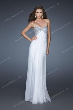 La Femme Designer Silver Sequin Prom Gowns Sweetheart Style 18313 White