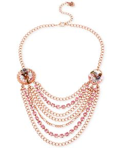 Betsey Johnson Rose Gold-Tone Woven Charm Multi-Chain Necklace - Jewelry & Watches - Macy's