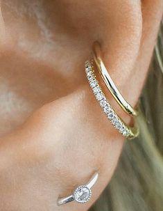 MINI Ear Cuff Cartilage Faux Helix,Fake Helix Earring No Piercing Hoop Earcuff Non-pierced Upper Earcuff Silver Apache Design - Custom Jewelry Ideas Orbital Piercing, Faux Piercing, Piercing Ring, Double Piercing, Ear Peircings, Cute Ear Piercings, Conch Piercings, Tragus, Septum