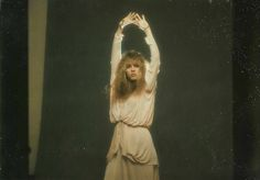 a rare and lovely photo of Stevie wearing an unusual long-sleeved cream dress that's gathered and looped at the waist and hips; from a 1979 photo session with Herbert W. Worthington III ~  ☆♥❤♥☆