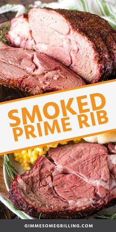 Make this delicious Smoked Prime Rib on your Traeger for your Easter dinner! It's perfectly seasoned with a homemade rub and then smoked so it's tender, juicy and full of flavor. It's the perfect prime rib recipe for the holidays! Healthy Beef Recipes, Smoked Meat Recipes, Rib Recipes, Barbecue Recipes, Grilling Recipes, Vegetarian Grilling, Venison Recipes, Healthy Grilling, Game Recipes