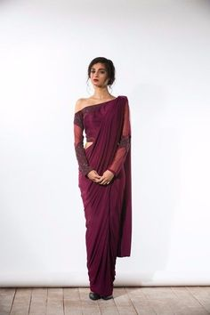 Wine One Shouldered Concept Sari In Other Peoples - Wine One Shouldered Concept Sari April Wine One Shouldered Concept Sari Bhaavya Bhatnagar Indian Dresses Indian Outfits Ethnic Outfits Off Shoulder Saree Blouse Sari Blouse Saree Blouse Desi Sari Blouse, Off Shoulder Saree Blouse, Saree Dress, Saree Blouse Designs, Peplum Blouse, Shoulder Dress, Sari Design, Indian Attire, Indian Ethnic Wear