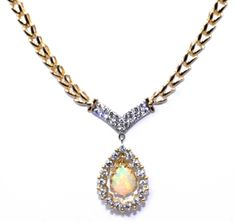 Look at that #FIRE in that #OPAL...opal diamond necklace