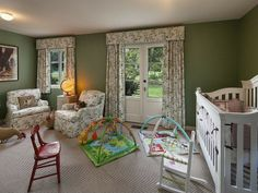 The nursery, painted in a soothing green shade. Drew Barrymore's home