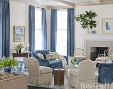 Blue-and-cream living room color palette. Design: Ann Wolf. Photo: Reed Davis. housebeautiful.com. #blue_and_white #living_room #blue_curtains #velvet