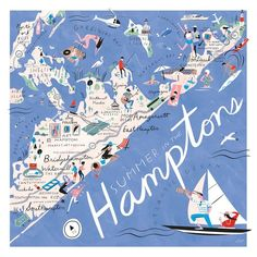 Libby Vanderploeg - An illustrated map of what to do and wear to go this summer in the Hamptons, for New York Times Thursday Styles. Hamptons Party, Die Hamptons, Hamptons New York, Southampton New York, Road Trip Usa, Usa Roadtrip, Norfolk, Banks, Shelter Island