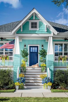 Browse 21 Inspiring Exterior House Color Ideas / Designs To Check . Click and take a look at all exterior house colors at The Architecture Designs. Beach Cottage Exterior, Beach Cottage Style, Beach Cottage Decor, Coastal Cottage, Coastal Living, Beach House Exteriors, Cottage Rugs, Yellow Cottage, Seaside Style