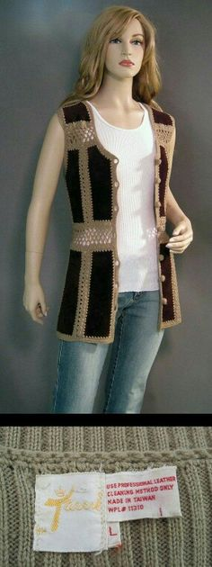 Vintage Vest Suede Patchwork Chocolate by vintagedaisydeb:, Jahre Kleidung häkeln Vintage Vest Suede Patchwork Chocolate by vintagedaisydeb: Moda Hippie Chic, Hippie Chic Fashion, Boho Hippie, Crochet Woman, Love Crochet, Knit Crochet, Crochet Jacket, Crochet Blouse, Knit Vest