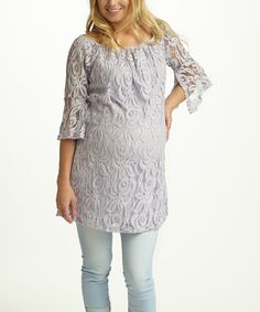 Look at this PinkBlush Lavender Lace Bell-Sleeve Maternity Tunic on #zulily today!