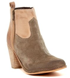 "Zip up 2 tone color suede and leather bootie. Grey suede in the front, nude leather on the heel. 3.35"" inch heel. Runs true to size."