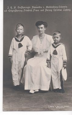 Alexandra Grand Duchess of Mecklenburg Schwerin with her sons.