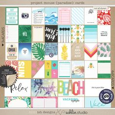 Project Mouse (Paradise): Journal Cards  [ a collaboration ] by britt-ish designs and sahlin studio   Pocket style scrapbooking is all the rage right now, and for good reason. It is one of the easiest ways to quickly & beautifully create a co...