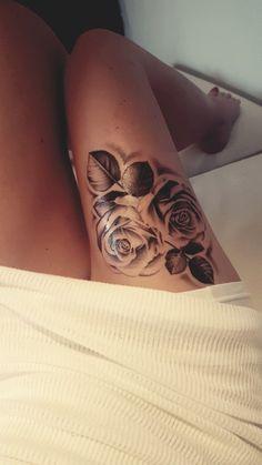 Roses thigh tattoo ♡ - Tattoo - Tattoo Designs for Women Front Thigh Tattoos, Cute Thigh Tattoos, Rose Tattoo Thigh, Leg Tattoos Women, Best Tattoos For Women, Pretty Tattoos, Foot Tattoos, Finger Tattoos, Beautiful Tattoos