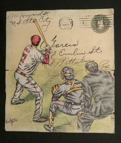 Cincinnati Vintage Baseball  Pen and Ink on 1927 Envelope  By Artist: Katherine Thomas