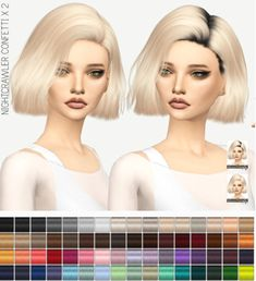 Miss Paraply: Nightcrawler Confetti hair dark roots • Sims 4 Downloads