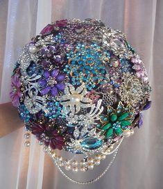 BROCHE ramo, ramo de broche de boda temática del pavo real, púrpura broche ramo, costumbre todos broche ramo, depósito sólo