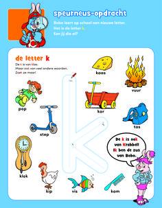 Letter k - Bobo Free Preschool, Preschool Worksheets, Letter K, Alphabet, Comics, Afrikaans, Kids, Young Children, Boys