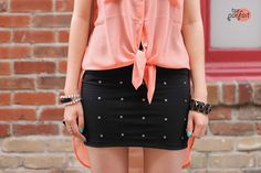 coral tops x studded skirts