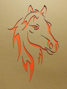 Pferdekopf lasergestanzt Pappkarton