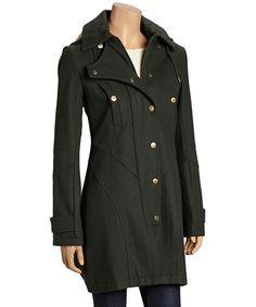 Hunter Green Wool-Blend Long Jacket by Betsey Johnson #zulily #zulilyfinds