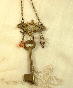 vintage key necklace handmade necklace vintage by FindingBrooke, $38.00