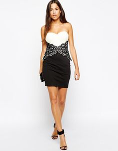 Lipsy | Lipsy Lace Applique Bandeau Dress at ASOS