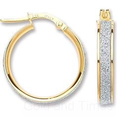 9ct Rose Gold Moondust Stardust Bangle Hoop Earrings Pinterest And