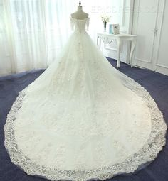 ericdress.com offers high quality  Ericdress Elegant Off The Shoulder Ball Gown Lace Wedding Dress With Sleeves Wedding Dresses 2016 unit price of $ 201.59.