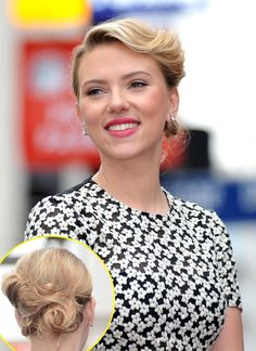 Scarlett Johansson's hair at the Hollywood Walk of Fame Star ceremony; I love the retro, romantic feel!