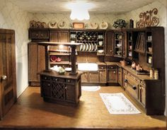 Probably the most accessorized room in the house is the kitchen. Miniature Rooms, Miniature Kitchen, Miniature Houses, Miniature Furniture, Dollhouse Furniture, Barbie Furniture, House 2, Dollhouses, Accent Pieces