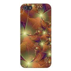 pretty brown, orange and purple fractal design iphone 5 case
