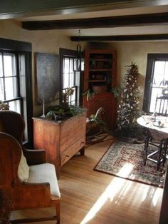 pictures of primitive homes decorated Primitive Living Room, Primitive Homes, Primitive Furniture, Country Primitive, Antique Furniture, Country Furniture, Wooden Furniture, Prim Decor, Country Decor