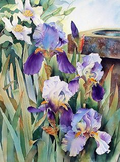 Irises and Clematis by Ann Mortimer watercolor with digital effects added for prints and cards