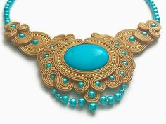 Turquoise Egyptian Necklace Golden Pendant Indian by RenaTienda
