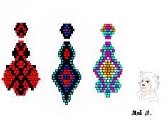 Various ornaments earrings brick weave. Seed Bead Jewelry, Seed Bead Earrings, Beaded Earrings, Beaded Jewelry Patterns, Beading Patterns, Native American Patterns, Fancy Earrings, Beaded Animals, Jewelry Making Tutorials