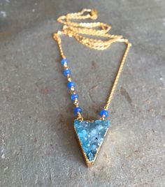 Blue Druzy Quartz Long Triangle Layering Necklace with Saphire Accents - 18kt GF Chain - Boho Necklace - Natural Crystal Neckalce by Adrienne Adelle
