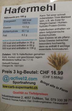 Instant Oats (Hafermehl) 3 kg CHF 12.75 - AKTION