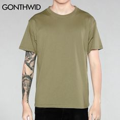 Men Basic T-Shirt Men's Casual Cotton Solid Color T Shirts Male Hip Hop Short Sleeve O-neck Loose Tops Tees