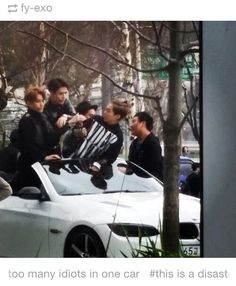 Four idiots in one car. Seems fun enough. xD