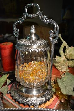 Crystal and silver biscuit jar with silver container. Joy Upon My Silver Tray Mint Julep Cups, Silver Trays, Biscuit Cookies, Victorian Decor, Bottles And Jars, Barrels, Candy Dishes, Cookie Jars, Buckets