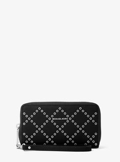 9aaf8c7b33f7 Online Michael Kors Black Jet Set Travel Grommeted Leather Smartphone  Wristlet Outlet Michael Kors Handbags Outlet