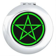 Black with Green Pentacle Pagan Compact Mirror by www.cheekywitch.com #zazzle #compact #mirror #pentacle #pentagram #witch #wicca #wiccan #pagan #cheekywitch #black #green
