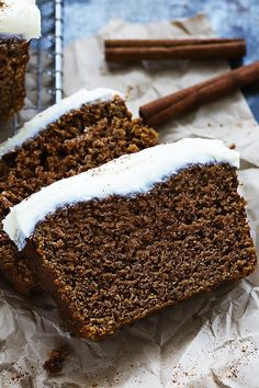 Gingerbread Loaf with Cream Cheese Frosting by cremedelacrumb #Gingerbread