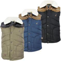 Mens Kangol  Sprella  Gilet/ Bodywarmer Fleece Sherpa Collar Jacket Padded