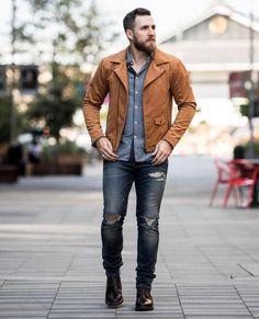 Love seeing @atlasandmason from @gentslounge rocking our 100% sustainable vegan Ultrasuede Leather Moto Jacket #NiftyGenius